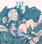 1girl bangs blue_eyes blue_hair blue_hoodie blue_legwear brown_background character_name commentary drawstring english_commentary fake_tail gawr_gura grey_hair highres hololive hololive_english hood hood_up hoodie ikea_shark knees_up long_sleeves lying multicolored_hair on_back parted_lips shark_hood shark_tail sharp_teeth shoes simple_background sleeves_past_wrists socks solo streaked_hair stuffed_animal stuffed_shark stuffed_toy tail teeth twitter_username vinhnyu virtual_youtuber white_footwear wide_sleeves