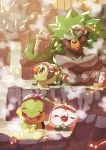 absurdres blush bucket closed_eyes commentary_request fangs gen_4_pokemon gen_7_pokemon gen_8_pokemon green_eyes grookey highres holding looking_back no_humans onsen open_mouth outdoors pokemon rillaboom rowlet steam taisa_(lovemokunae) towel towel_on_head turtwig water