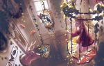 1girl bird birdcage blue_butterfly brown_hair cage day dress eri_(difference) indoors kneeling long_hair orange_butterfly original picture_(object) plant red_dress red_eyes vines window