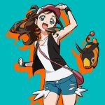 1girl :d arm_up armpits bag black_vest brown_hair clenched_hands collarbone denim denim_shorts eyelashes floating_hair gen_5_pokemon green_eyes happy hilda_(pokemon) long_hair looking_at_viewer open_mouth pink_bag pokemon pokemon_(creature) pokemon_(game) pokemon_bw shirt shorts shoulder_bag sidelocks sleeveless sleeveless_shirt smile tepig tongue torn_clothes torn_shorts vest white_shirt wristband yoko.u