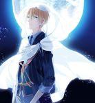 1boy blonde_hair blue_eyes cloak collared_shirt full_moon kuroemon male_focus moon necktie night night_sky parted_lips shirt sky touken_ranbu yamanbagiri_kunihiro