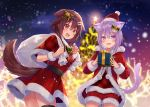 2girls :3 ahoge animal_ear_fluff animal_ears bangs bell belt black_belt blurry blurry_background blush bone_hair_ornament bow box brown_eyes brown_hair capelet cartoon_bone cat_ears cat_girl cat_tail christmas christmas_lights christmas_tree commentary cowboy_shot dog_ears dog_tail dot_nose dutch_angle eyebrows_visible_through_hair fang fangs fukahire_(ruinon) fur-trimmed_headwear fur_trim gift gift_bag gift_box green_bow hair_bell hair_between_eyes hair_ornament hairclip hat holding holding_gift hololive inugami_korone long_hair looking_at_viewer looking_back low_twin_braids multiple_girls nail_polish nekomata_okayu night o-ring_belt open_mouth outdoors over_shoulder plaid_capelet pom_pom_(clothes) purple_hair red_capelet santa_costume santa_dress santa_hat short_hair shorts snow sparkling_eyes star_(symbol) star_hair_ornament tail thigh-highs violet_eyes virtual_youtuber yellow_nails