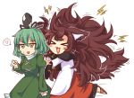 >_< 2girls :3 :d anger_vein animal_ears big_hair blush blush_stickers brown_hair clenched_hand dress green_dress green_eyes green_hair hat heart heart_in_mouth imaizumi_kagerou juliet_sleeves long_hair long_skirt long_sleeves multiple_girls open_mouth puffy_sleeves red_skirt sandals short_hair simple_background skirt smile soga_no_tojiko spoken_anger_vein standing standing_on_one_leg sweatdrop tail touhou very_long_hair white_background wolf_ears wolf_tail wool_(miwol)