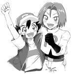 2boys ash_ketchum greyscale h_dt15 james_(pokemon) monochrome multiple_boys pokemon pokemon_(anime) team_rocket