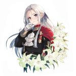 1girl artist_name blush cape closed_mouth da-cart edelgard_von_hresvelg fire_emblem fire_emblem:_three_houses flower forehead gloves hair_ribbon hand_on_own_face hand_up highres lily_(flower) long_hair long_sleeves looking_at_viewer purple_ribbon red_cape ribbon silver_hair simple_background smile solo uniform upper_body violet_eyes white_background white_flower white_gloves
