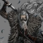 1boy arm_up artist_name beard black_kimono closed_mouth commentary_request facial_hair feather_trim feathers great_shinobi_owl grey_background grey_hair hand_on_own_chin holding holding_sword holding_weapon japanese_clothes katana kimono long_hair long_sleeves male_focus ogamiya_jin old_man ponytail scar scar_across_eye sekiro:_shadows_die_twice sheath simple_background solo sword unsheathing upper_body very_long_hair weapon weapon_on_back wrinkled_skin