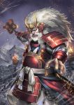 absurdres armor beard brazier facial_hair fire hidezi highres holding holding_weapon huge_filesize japanese_armor long_hair looking_at_viewer male_focus motion_blur mountain outdoors standing takeda_shingen weapon white_hair