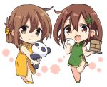 2girls bamboo_steamer bangs baozi brown_eyes brown_hair chibi china_dress chinese_clothes dress eyebrows_visible_through_hair fang folded_ponytail food green_dress green_footwear hair_between_eyes hair_ornament hizuki_yayoi holding holding_food ikazuchi_(kantai_collection) inazuma_(kantai_collection) kantai_collection leg_up multiple_girls open_mouth ponytail simple_background skin_fang standing standing_on_one_leg stuffed_animal stuffed_panda stuffed_toy white_background yellow_dress yellow_footwear