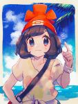 1girl bag beanie black_hair blue_eyes bracelet closed_mouth clouds commentary_request day hand_on_hip hand_up hanenbo hat highres index_finger_raised jewelry outdoors palm_tree pokemon pokemon_(game) pokemon_sm red_headwear selene_(pokemon) shirt short_sleeves shoulder_bag sky smile solo tied_shirt tree upper_body