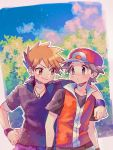 2boys arm_around_shoulder baseball_cap blue_oak blush brown_eyes brown_hair closed_mouth clouds day eye_contact foliage grey_hair hanenbo hat highres jacket jewelry looking_at_another male_focus multiple_boys necklace outdoors pants pokemon pokemon_(game) pokemon_frlg purple_pants purple_wristband red_(pokemon) shirt short_sleeves sky smile wristband