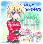 bangs black_skirt blonde_hair blue_eyes blush braid burafu cake cake_slice cup darjeeling_(girls_und_panzer) dated flower food fork fruit garden girls_und_panzer happy_birthday holding holding_fork holding_plate jacket long_sleeves looking_at_viewer military_jacket outdoors plate pleated_skirt red_jacket skirt smile st._gloriana's_military_uniform strawberry swept_bangs teapot