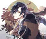 1boy armor black_hair blazer collared_shirt eyepatch flower jacket japanese_armor kuroemon looking_back male_focus shirt shokudaikiri_mitsutada shoulder_armor smile sode touken_ranbu upper_body yellow_eyes