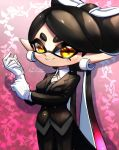 +_+ 1girl adjusting_clothes adjusting_gloves altoooooon aori_(splatoon) artist_name bangs black_hair black_jacket black_pants blazer butler check_commentary coattails commentary_request domino_mask dress_shirt earrings gloves gradient_hair grey_vest highres ivy jacket jewelry long_hair looking_at_viewer mask mole mole_under_eye multicolored_hair neck_ribbon pants pointy_ears purple_background purple_hair ribbon shirt signature solo splatoon_(series) standing standing_on_one_leg swept_bangs tentacle_hair tied_hair very_long_hair vest white_gloves white_shirt wing_collar yellow_eyes yellow_neckwear