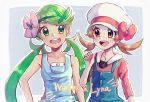 2girls :d bangs blush brown_eyes brown_hair character_name collarbone commentary_request eye_contact eyelashes flower green_eyes green_hair hair_flower hair_ornament hand_up hanenbo happy hat hat_ribbon highres long_hair looking_at_another lyra_(pokemon) mallow_(pokemon) multiple_girls open_mouth overalls pokemon pokemon_(game) pokemon_hgss pokemon_sm ribbon smile swept_bangs teeth twintails upper_body white_headwear