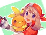 1girl :d bangs blush brown_hair commentary_request eyelashes gen_3_pokemon gloves hanenbo highres holding holding_poke_ball looking_at_viewer may_(pokemon) open_mouth poke_ball poke_ball_(basic) pokemon pokemon_(creature) pokemon_(game) pokemon_on_arm pokemon_rse popped_collar red_bandana short_sleeves signature smile teeth tongue torchic two-tone_background upper_body violet_eyes