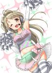 1girl :d absurdres arm_up bow breasts brown_hair character_name cheerleader collarbone elbow_gloves eyebrows_visible_through_hair gloves hair_bow headphones highres large_breasts long_hair looking_at_viewer love_live! love_live!_school_idol_project microphone midriff minami_kotori navel one_eye_closed one_side_up open_mouth pom_poms skirt skirt_lift smile solo striped striped_legwear takaramonozu takochan77 tank_top thigh-highs tongue upper_teeth white_background yellow_eyes zettai_ryouiki