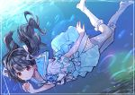 1girl black_hair blue_sailor_collar blue_skirt brown_eyes character_request copyright_request freediving frilled_legwear frilled_sleeves frills hair_ribbon highres inui/byte nail_polish ribbon sailor_collar school_uniform serafuku skirt socks solo twintails underwater white_legwear white_ribbon