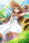 1girl alternate_hairstyle bangs blush brown_eyes brown_hair clouds day dress elf flower grass hair_down hands_up hat long_hair nowa official_art open_mouth outdoors petals pointy_ears queen's_blade queen's_blade_unlimited queen's_blade_white_triangle sky straw_hat sun_hat sundress sunflower thighs very_long_hair white_dress wind