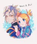 1boy 1girl blonde_hair blue_eyes character_name closed_mouth commentary_request hair_tie hand_on_another's_shoulder hanenbo long_sleeves looking_at_another looking_back looking_up orange_hair pokemon pokemon_(game) pokemon_colosseum popped_collar rui_(pokemon) shiny shiny_hair short_twintails smile tied_hair twintails upper_body wes_(pokemon) yellow_eyes