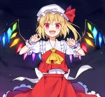 1girl :d ascot bangs blonde_hair bow claw_pose commentary_request crystal eyebrows_behind_hair fang flandre_scarlet frilled_shirt_collar frilled_skirt frilled_sleeves frills hat hat_bow hat_ribbon kaminokefusa looking_at_viewer medium_hair mob_cap night open_mouth puffy_short_sleeves puffy_sleeves red_bow red_eyes red_skirt red_vest ribbon shirt short_sleeves side_ponytail skirt skirt_set smile solo touhou vest white_shirt wings wrist_cuffs yellow_neckwear