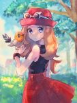 1girl bare_shoulders blue_eyes blurry blurry_background blush bracelet brown_hair clouds commentary_request day eyelashes eyewear_on_headwear fletchling gen_6_pokemon hand_up hanenbo hat highres jewelry long_hair looking_back outdoors parted_lips pleated_skirt pokemon pokemon_(creature) pokemon_(game) pokemon_xy red_skirt serena_(pokemon) shirt skirt sky sleeveless sleeveless_shirt sunglasses tree