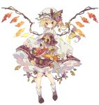 1girl acorn autumn autumn_leaves blonde_hair boots bow brown_legwear expressionless flandre_scarlet food food_themed_clothes food_themed_hair_ornament frilled_skirt frills fruit full_body grape_hair_ornament grapes green_ribbon hair_ornament hair_ribbon hat highres lolita_fashion long_hair long_sleeves mob_cap mushroom nikorashi-ka persimmon plaid plaid_skirt plaid_vest plant ponytail red_eyes ribbon side_ponytail skirt skirt_lift touhou vest vines white_background wings