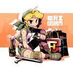 1girl ahoge aiming_at_viewer bandana baton black_eyes blonde_hair character_name from_side green_footwear green_shorts gun halftone handgun highres holding holding_gun holding_weapon jacket jewelry kasamoto_eri knee_pads looking_at_viewer looking_to_the_side metal_slug molotov_cocktail open_clothes open_jacket orange_background pistol rariatto_(ganguri) ring shoes short_sleeves shorts sitting smile solo weapon