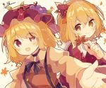 2girls aki_minoriko aki_shizuha apron autumn_leaves black_neckwear black_skirt blonde_hair bow breasts dated eyebrows_visible_through_hair food food_themed_hair_ornament fruit grape_hair_ornament grapes hair_ornament hat leaf leaf_hair_ornament leaf_on_head long_sleeves looking_at_viewer maple_leaf mina_(sio0616) mob_cap multiple_girls open_mouth orange_eyes red_apron red_eyes red_headwear red_shirt shirt short_hair skirt small_breasts smile touhou white_background wide_sleeves yellow_eyes yellow_shirt