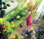 1girl :d bangs blurry_foreground bob_cut boots brown_footwear brown_hair budew closed_eyes commentary day door dress flower gen_4_pokemon gloria_(pokemon) grass green_legwear hanenbo happy highres holding holding_watering_can looking_to_the_side open_mouth outdoors pink_dress plaid plaid_legwear pokemon pokemon_(creature) pokemon_(game) pokemon_swsh short_hair smile socks standing stone sunlight watering_can