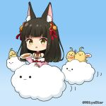 >_< 1girl :o animal_ear_fluff animal_ears azur_lane bangs bare_shoulders black_hair blue_background blush brown_eyes closed_eyes clouds commentary_request curry curry_rice eyebrows_visible_through_hair food fox_ears gradient gradient_background hair_ornament holding holding_plate holding_spoon jacket long_hair long_sleeves looking_at_viewer manjuu_(azur_lane) miicha nagato_(azur_lane) off_shoulder parted_lips pink_jacket plate puffy_long_sleeves puffy_sleeves rice solid_circle_eyes solo spoon twitter_username very_long_hair