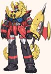 atlanger beige_background clenched_hands gattai_robo_atlanger looking_down mecha munya_(otikamohe) no_humans sheath sheathed shield solo standing super_robot sword weapon yellow_eyes