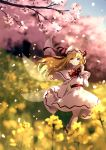 1girl blonde_hair blue_eyes blurry blurry_background blurry_foreground bow bowtie capelet cherry_blossoms dappled_sunlight depth_of_field dise dress fairy_wings hand_up hat highres lily_white long_hair long_sleeves outdoors rapeseed_blossoms red_neckwear ribbon sash scenery shoes smile socks solo spring_(season) standing sunlight touhou wide_sleeves wings