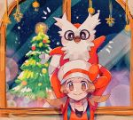 1girl arms_up blush bow brown_eyes brown_hair christmas christmas_tree closed_mouth commentary_request delibird eyelashes gen_2_pokemon glowing hanenbo hat hat_ribbon holding holding_pokemon looking_at_viewer lyra_(pokemon) on_head overalls pokemon pokemon_(creature) pokemon_(game) pokemon_hgss pokemon_on_head red_bow ribbon sleeves_past_elbows smile star_(symbol) twintails white_headwear