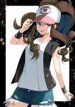 1girl :d bare_shoulders baseball_cap black_border black_vest blue_eyes border breasts brown_hair collarbone commentary_request cowboy_shot curly_hair cutoffs denim denim_shorts exposed_pocket hand_up hat high_ponytail highres hilda_(pokemon) holding holding_clothes holding_hat holding_poke_ball long_hair looking_at_viewer medium_breasts open_mouth poke_ball poke_ball_(basic) pokemon pokemon_(game) pokemon_bw ponytail shirt short_shorts shorts sidelocks simple_background sleeveless sleeveless_shirt smile solo standing vest white_background white_shirt wristband yuihico