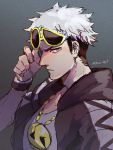 1boy asymmetrical_eyewear black_hair black_hoodie closed_mouth fingernails gold_necklace grey_eyes guzma_(pokemon) hand_up hanenbo highres jewelry looking_at_viewer looking_to_the_side male_focus multicolored_hair necklace pokemon pokemon_(game) pokemon_sm short_sleeves signature solo sunglasses two-tone_hair upper_body white_hair wristband yellow-framed_eyewear