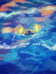 +_+ afloat anglerfish chinchou commentary_request gen_2_pokemon hanenbo highres light looking_up no_humans pokemon pokemon_(creature) water waves