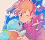 1boy bangs blue_oak blush brown_eyes closed_mouth clouds commentary_request day eyebrows_visible_through_hair gen_1_pokemon grass hanenbo holding holding_pokemon looking_to_the_side on_shoulder one_eye_closed orange_hair outdoors pokemon pokemon_(creature) pokemon_(game) pokemon_on_shoulder pokemon_rgby rattata sky spiky_hair squirtle upper_body
