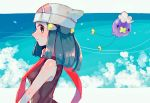 1girl bare_arms beanie black_hair closed_mouth clouds commentary_request dawn_(pokemon) drifloon flying from_side gen_4_pokemon hair_ornament hairclip hanenbo hat highres long_hair looking_at_viewer pokemon pokemon_(creature) pokemon_(game) pokemon_dppt red_scarf scarf sidelocks sleeveless smile white_headwear