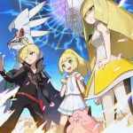1boy 2girls backpack bag black_pants blonde_hair blush clefairy clenched_hands closed_mouth commentary_request dress family gen_1_pokemon gen_7_pokemon gladion_(pokemon) green_eyes hair_over_one_eye hand_on_hip hands_up legendary_pokemon lillie_(pokemon) long_hair long_sleeves lusamine_(pokemon) multiple_girls open_mouth pants pheromosa pleated_skirt pokemon pokemon_(creature) pokemon_(game) pokemon_masters_ex pokemon_sm saitou_naoki short_sleeves silvally skirt standing teeth tongue ultra_beast