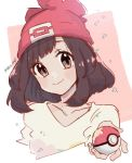 1girl bangs beanie black_hair closed_mouth collarbone commentary_request eyelashes floral_print grey_eyes hand_up hanenbo hat holding holding_poke_ball medium_hair poke_ball poke_ball_(basic) pokemon pokemon_(game) pokemon_sm red_headwear selene_(pokemon) shirt signature smile solo upper_body