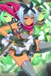 1girl afterimage blue_hair blush bow breasts closed_mouth dress dual_wielding grey_legwear hair_bow holding holding_weapon irma medium_breasts official_art pink_eyes queen's_blade queen's_blade_unlimited queen's_blade_white_triangle scarf short_dress short_hair short_sword skindentation solo sword tan thigh-highs weapon