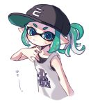 1girl aqua_eyes bangs baseball_cap basketball_jersey black_headwear blunt_bangs closed_mouth commentary cropped_torso domino_mask green_hair grey_background hat inkling light_frown looking_at_viewer maco_spl mask pointy_ears print_shirt shirt short_hair short_ponytail sidelocks simple_background solo splatoon_(series) sweat tentacle_hair translated upper_body white_shirt