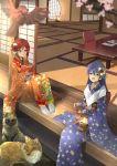 2girls animal blue_hair blue_kimono book cat floral_print flower fox hair_flower hair_ornament highres holding holding_animal holding_book holding_cat japanese_clothes kimono long_hair love_live! love_live!_school_idol_project multiple_girls nishikino_maki open_book open_mouth orein red_kimono redhead shouji sitting sliding_doors smile sonoda_umi tatami veranda violet_eyes wide_sleeves yellow_eyes