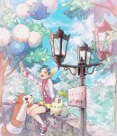 1girl arm_up bangs bike_shorts blue_hair chikorita closed_eyes clouds day furret gen_2_pokemon hanenbo highres jacket jumpluff kris_(pokemon) legs_together long_sleeves open_mouth outdoors parted_bangs pokemon pokemon_(creature) pokemon_(game) pokemon_gsc shiny shiny_hair shoes sitting sky smile starter_pokemon teeth tongue tree wall white_jacket