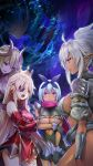 4girls aldra_(queen's_blade) armor armored_dress bangs black_sclera blue_hair bow breasts cleavage_cutout crown curled_horns dark_elf dark_skin delmore demon_girl demon_horns demon_wings dress echidna_(queen's_blade) elbow_gloves elf eyepatch gauntlets gloves greaves green_eyes hair_bow highres horns huge_breasts irma large_breasts lips long_hair makeup multiple_girls night no_panties pink_eyes pink_lips platinum_blonde_hair pointy_ears ponytail purple_skin queen's_blade queen's_blade_unlimited queen's_blade_white_triangle red_eyes revealing_clothes scarf short_dress short_hair sidelocks silver_hair skindentation snake tan very_long_hair wings