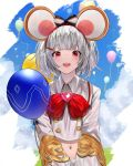 1girl :d absurdres animal_ears balloon bangs betabeet blue_sky blunt_bangs blush bow bowtie clouds collared_shirt day eyebrows_visible_through_hair fake_animal_ears gem granblue_fantasy hair_ornament hairband hairclip heart highres long_sleeves mouse_ears navel open_mouth outdoors red_bow red_eyes red_hairband red_neckwear shirt short_hair silver_hair sky smile solo striped striped_bow upper_body vikala_(granblue_fantasy) white_shirt