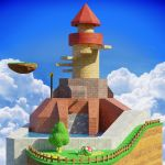 3d blender_(medium) clouds english_commentary fence floating_island highres mario_(series) mary_in_the_stars no_humans piranha_plant plant scenery sky super_mario_64 tower tree