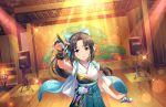 blush idolmaster_cinderella_girls_starlight_stage long_hair mizuno_midori ponytail purple_hair smile violet_eyes yukata