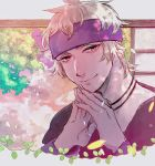 1boy bangs blonde_hair closed_mouth commentary_request fingernails foliage hands_together hanenbo highres jewelry long_sleeves looking_at_viewer male_focus messy_hair morty_(pokemon) necklace pink_eyes plant pokemon pokemon_(game) pokemon_hgss purple_headband sketch smile solo vines