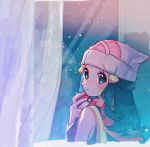 1girl aqua_eyes aqua_hair bare_arms beanie blush commentary_request creatures_(company) dawn_(pokemon) eyelashes fingernails game_freak hair_ornament hairclip hanenbo hat highres hikari_(pokemon) holding holding_poke_ball light_beam looking_at_viewer looking_back nintendo olm_digital poke_ball poke_ball_(basic) pokemon pokemon_(anime) pokemon_(game) pokemon_dppt red_scarf scarf signature solo white_headwear
